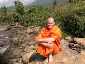 Buddhist Monk, meditation. Mindfulness, commit to sit, miracle or mindfulness,